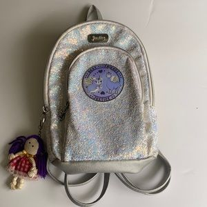 Justice Sparkly Silver Mini Best Friends Backpack